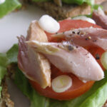 Delicious smoked mackerel with summer salad